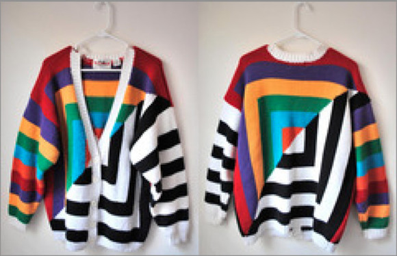 rainbow cardigan mulit-color black white stripes squares black and white