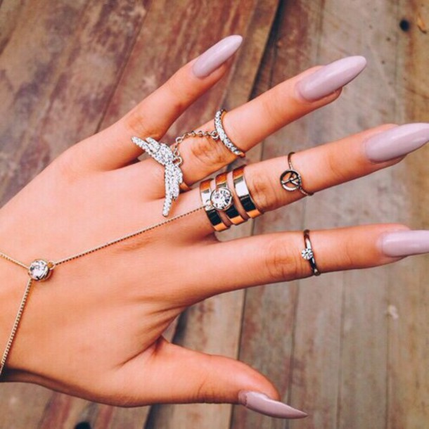 jewels rings and tings sparkle glamour cute rings nail polish nude taupe blush nails nail polish nail accessories ring