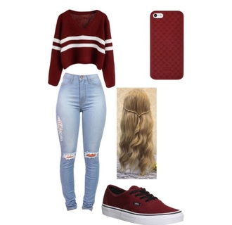 shirt jeans vans shoes phone cover cover red white