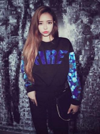 sweater black hipster casual hoodie top korean fashion long sleeves fire sweatshirt printed top streetstyle black hoodie