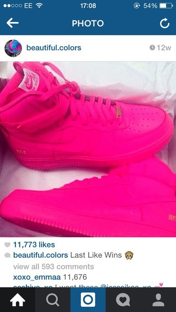 shoes pink nike air force 1