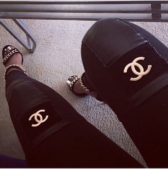 leggings chanel jeggings pants leg warmers