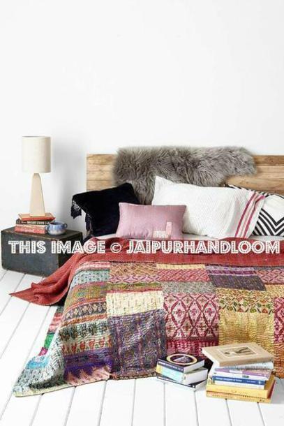 home accessory, silk kantha quilt, patchwork kantha throw ...
