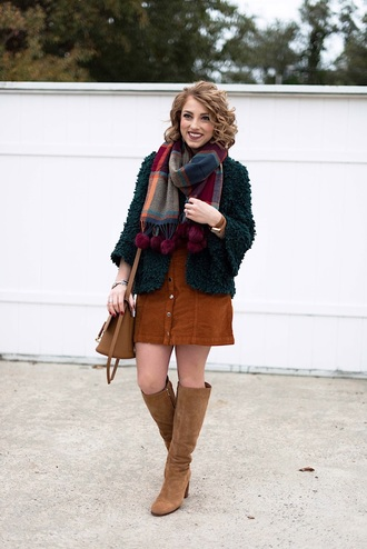something delightful blogger cardigan scarf tank top skirt bag shoes jewels fall outfits knee high boots button up skirt fall colors fuzzy cardigan