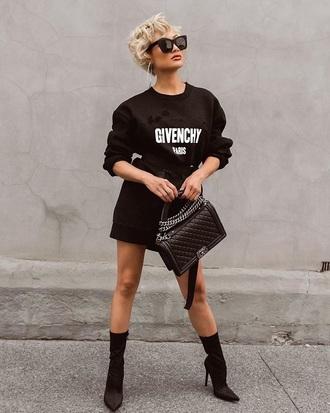 dress sweatshirt dress mini dress boots black boots sock boots sunglasses bag chanel sweater dress all black everything givenchy