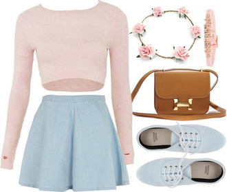 skirt denim skater circle skirt cute outfit pastel pink top