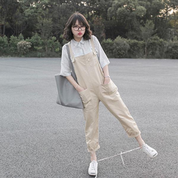 Romper Korean Fashion Overalls Comfortable Overalls Comfortable Pants K-pop Beige Beige ...