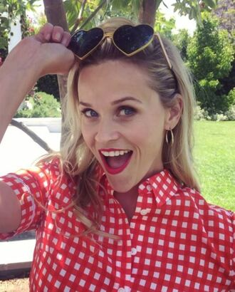 shirt sunglasses reese witherspoon instagram blouse top plaid