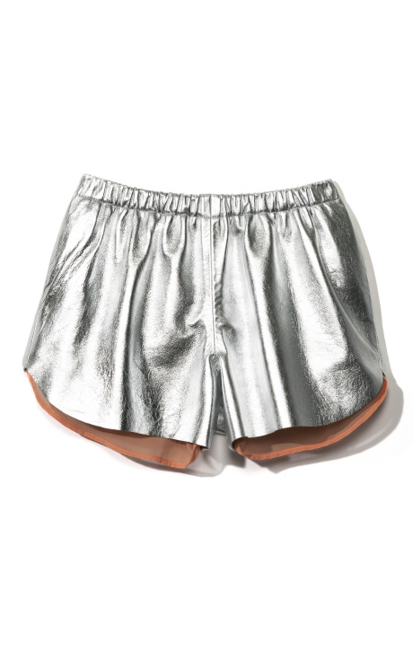 Metallic Silver Leather Short by Clover Canyon for Preorder on Moda Operandi