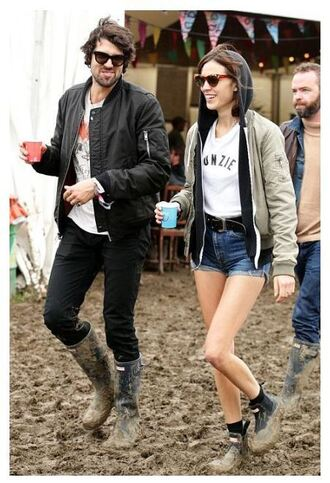 shoes boots festival alexa chung jacket shorts top wellies