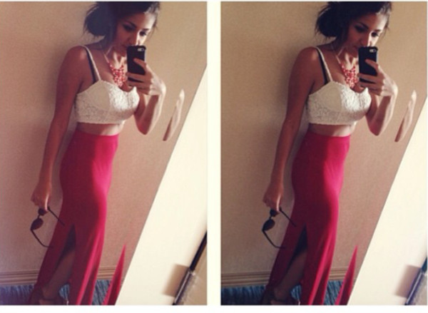 skirt red maxi skirt maxi slit skirt sexy summer girly long slit
