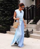 dress,maxi dress,striped dress,basket bag,sunglasses,shoes,necklace