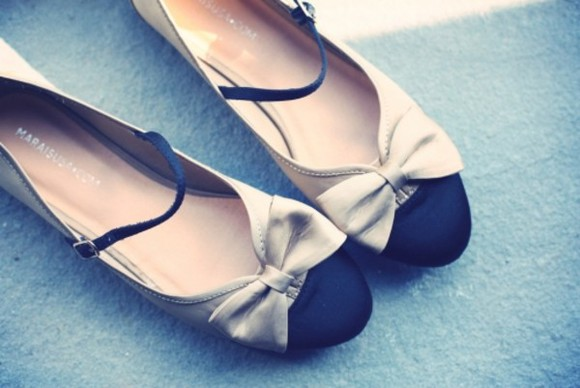 shoes mary jane bows black beige flats