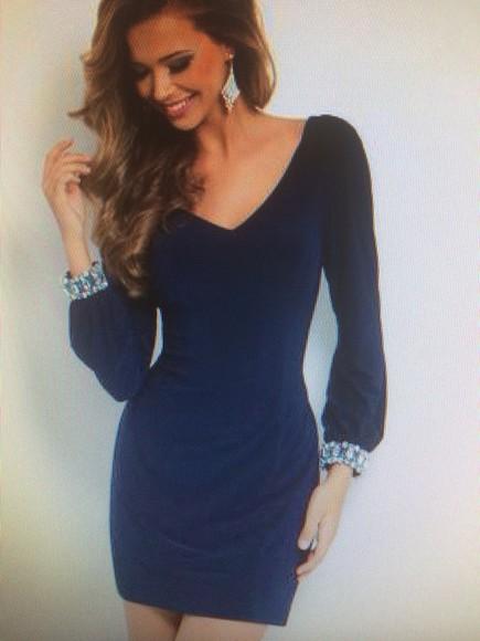 dress navy navy dress prom dress homecoming dress jewels sequin dress fitted dress tight dress vneckdress
