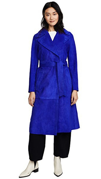 coat trench coat suede blue