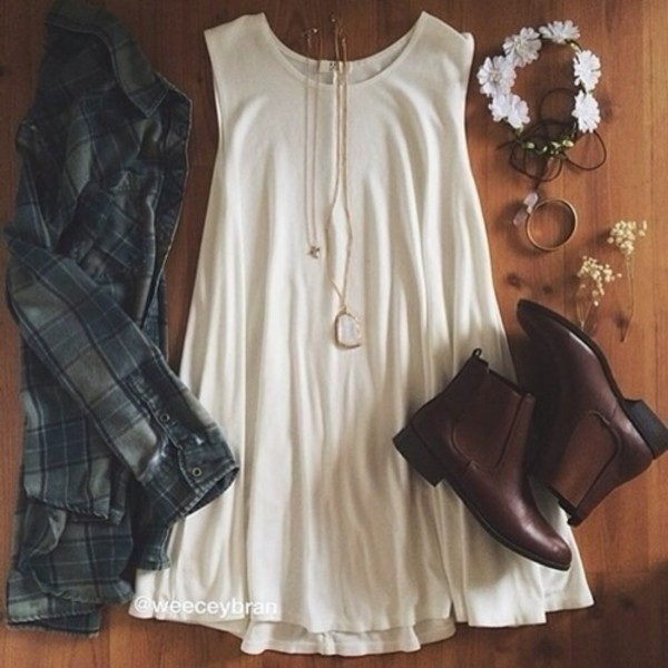 dress white dress jewels shirt jacket shoes white green plaid flowers necklace moon