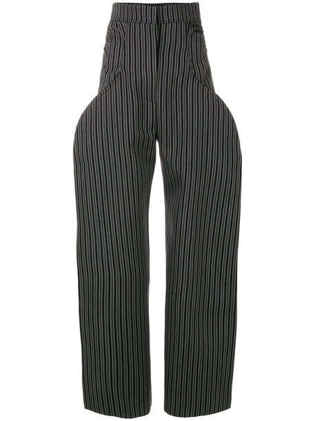 Jacquemus high women cotton wool grey pants