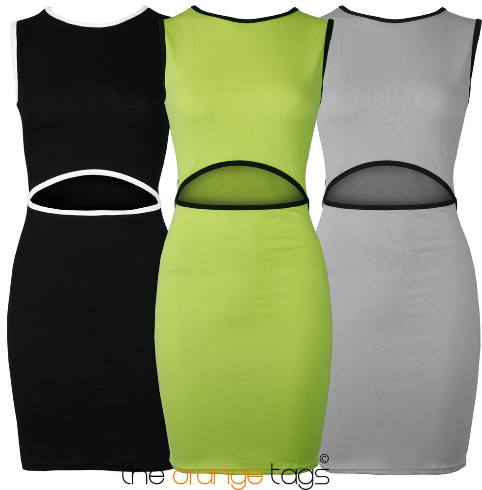 NEW SEXY CUT OUT LADIES BODYCON DRESS WOMENS PARTY KEYHOLE DRESS | eBay