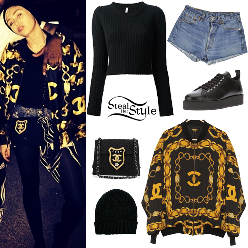 Miley Cyrus: Crop Sweater, Bomber Jacket | Steal Her Style
