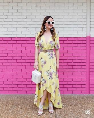 dress tumblr yellow yellow dress asymmetrical wrap dress maxi dress long dress belt logo belt gucci gucci belt sunglasses white sunglasses bag boxed bag white bag floral wrap dress