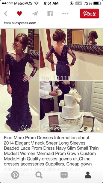 dress navy beaded lace prom dress lace sleeves
