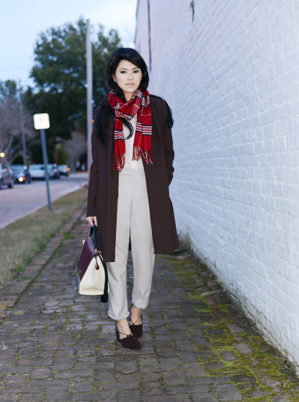 behind the seams blouse coat scarf pants bag