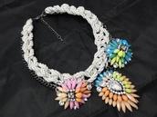 jewels,aliexpress,shourouk,rhinestones,cord,multicolor,statement necklace,statement,gunmetal chain