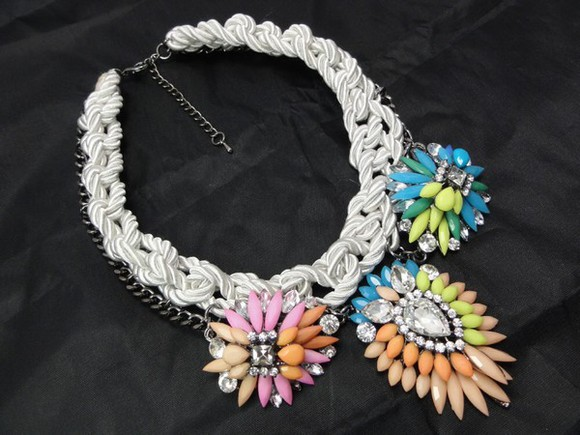 multicolor jewels aliexpress shourouk rhinestones cord statement necklace statement neckpiece statement gunmetal chain