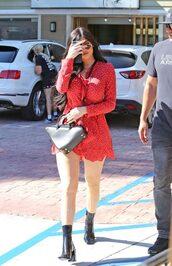 dress,red dress,red,wrap dress,kylie jenner,ankle boots,kardashians,streetwear