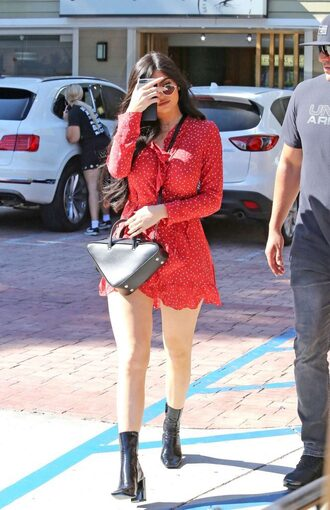 dress red dress red wrap dress kylie jenner ankle boots kardashians streetwear