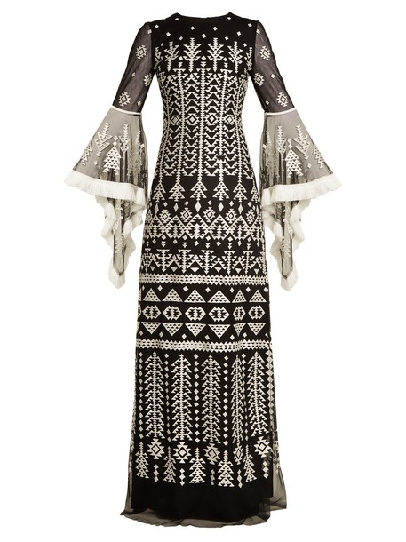 gown embroidered silk aztec black cream dress