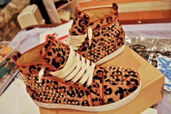 shoes spiked shoes cheetah print leopard print studded red hightop dope