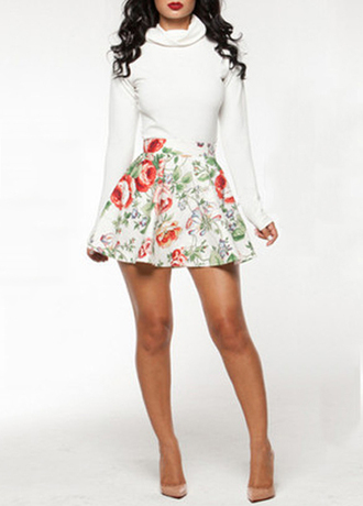 dress turtleneck long sleeves fashion floral cute