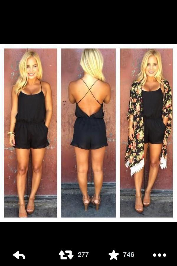cardigan kimono jumpsuit black black jumpsuit summer open back dress romper cute black romper criss cross