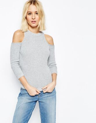 sweater jeans streetstyle cold shoulder sweater