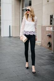 fashionjackson,blogger,top,jeans,shoes,bag,sunglasses,make-up,jewels,lace top,ysl bag,clutch,black jeans,pumps