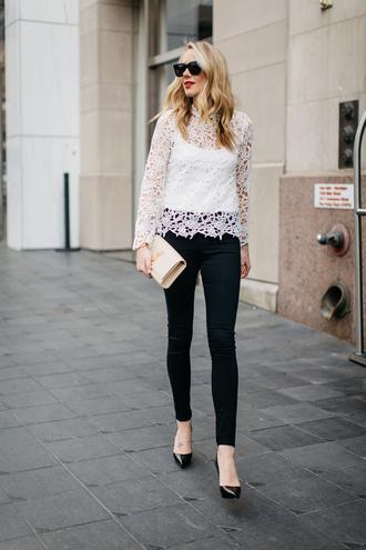 fashionjackson blogger top jeans shoes bag sunglasses make-up jewels lace top ysl bag clutch black jeans pumps