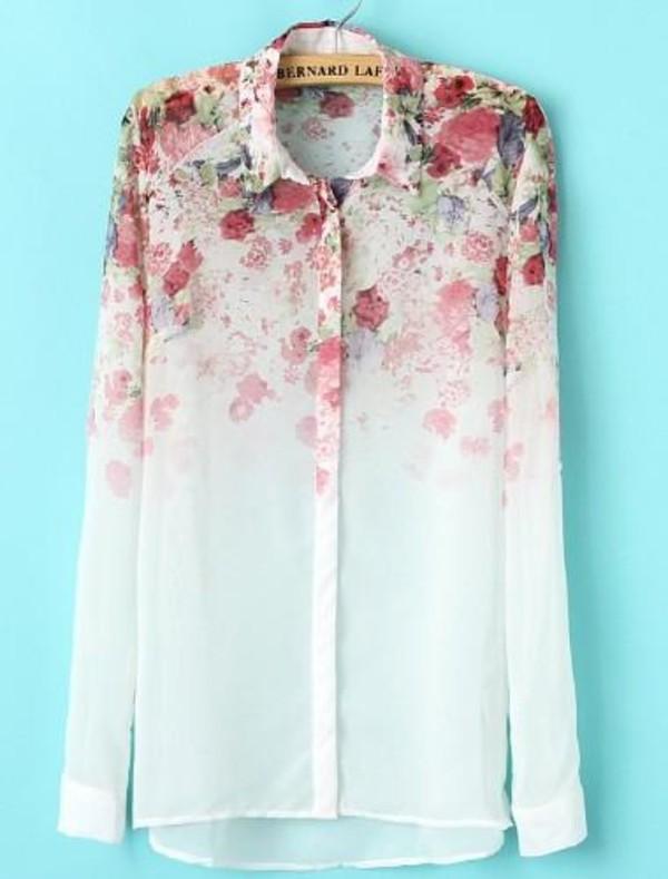 blouse gradient floral print long sleeve blouses white blouse floral blouse
