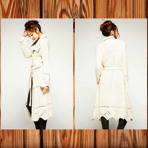 Cardigan: duster, coat, crochet, fall outfits, long jacket, cream ...