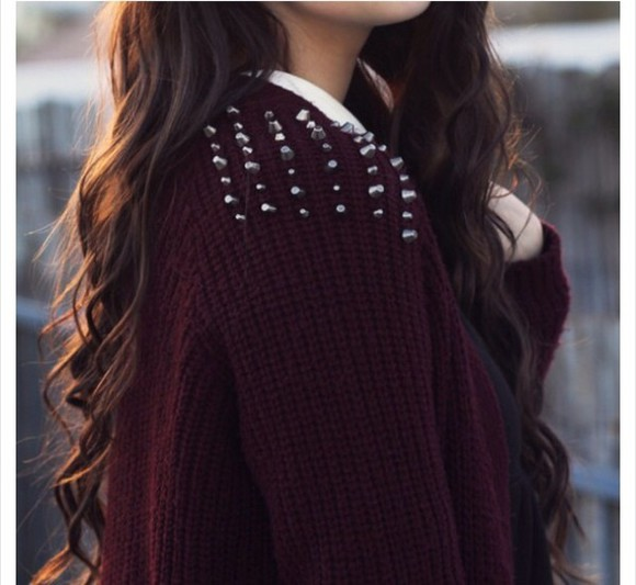 sweater burgundy sweater spike studded autumn