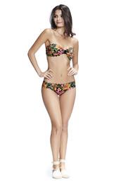 swimwear,bikini,black,cheeky,floral,strapless,agua bendita,bikiniluxe