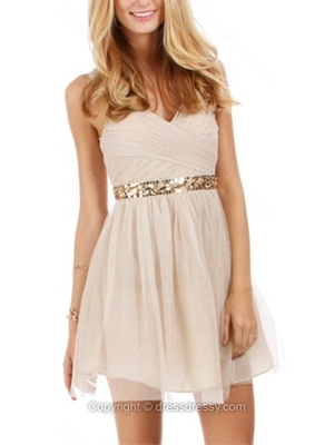 A-line V-neck Chiffon Short/Mini Sleeveless Sequins Homecoming Dresses