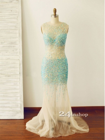 Amazing Round Mermaid Style Tulle Backless Long Prom Dresses, Formal Dresses [B0012] - $248.99 : 24inshop