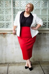 top,skirt,plus size interview outfit,curvy,plus size,plus size top,red skirt,pencil skirt,midi skirt,blazer,white blazer,pumps,pointed toe pumps,high heel pumps
