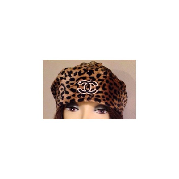 chanel black chanel inspired chanel logo leopard print rhinestones hat beanie sexy beautiful