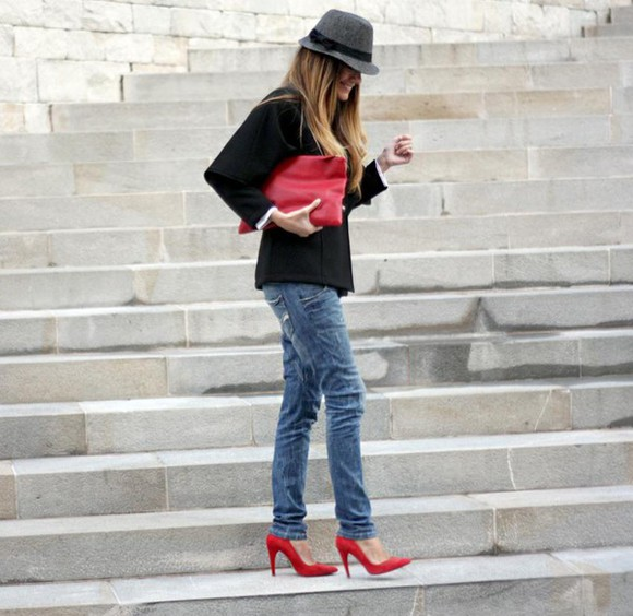 red shoes rebel attitude blogger jacket pouch