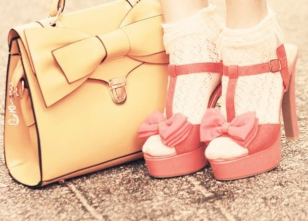 shoes pink bow high heels straps