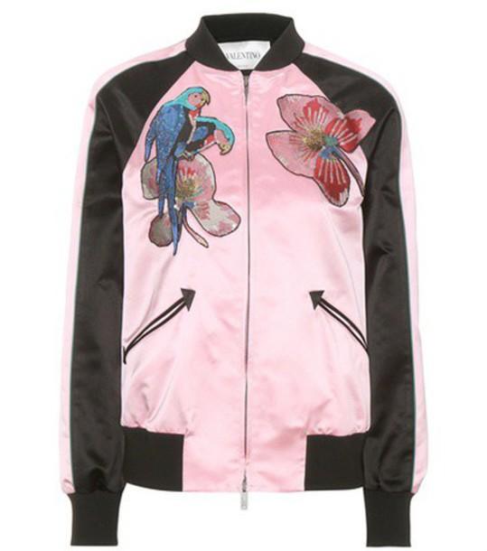 Valentino jacket bomber jacket satin bomber embellished silk satin