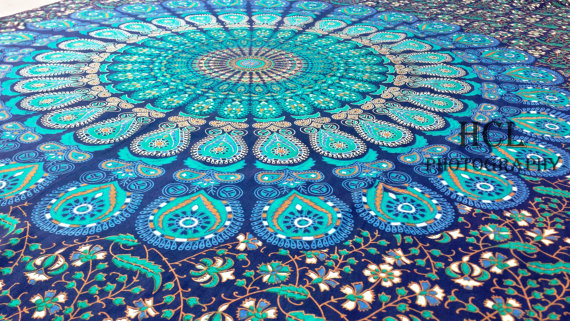 Dorm indian hand loom mandala tapestry bed spread bed sheet bohemian wall hanging hippie tapestry psychedelic tapestry floral mandala