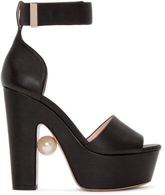 pearl sandals leather black black leather shoes